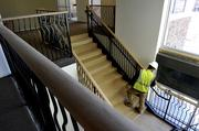 An interior staircase leads to the second-floor developer's office in the first Langtree building, set to open in early April.