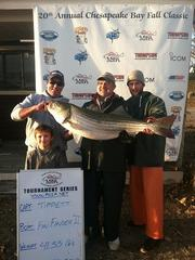 Thousands of anglers from the East Coast will turn out to the Nov. 23-24 Chesapeake Bay Fall Classic Rockfish Tournament at Sandy Point State Park. Touted as the bay's largest striped bass tournament, the 2012 event carried a payout of more than $90,000 in prize money.