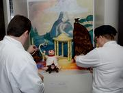 Chefs from the Contemporary Resort assemble the chocolate sculpture.