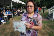 """Elena De La Cruz Ramirez Perez from Guatemala  has been in the country working for 30 years. Now with her citizenship, she said she will """"have a better everything."""""""