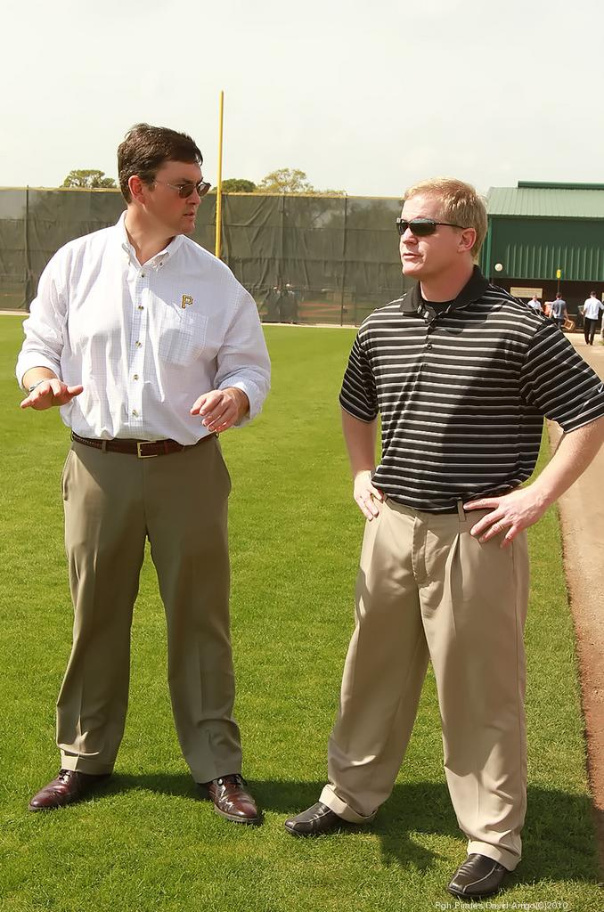 Pittsburgh Pirates Owner Bob Nutting, left, chats with his team's general manager, Neal Huntington.