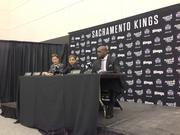 Part of the Sacramento Kings ownership group introduces a new owner to the team. Mark Mastrov and lead owner Vivek Ranadive announce former NBA player Shaquille O'Neal, known as Shaq, as part of the group. They also talked about plans for the arena.