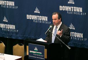 Downtown Partnership President Kirby Fowler told a crowd on Thursday he's been waiting for news about downtown population growth for a