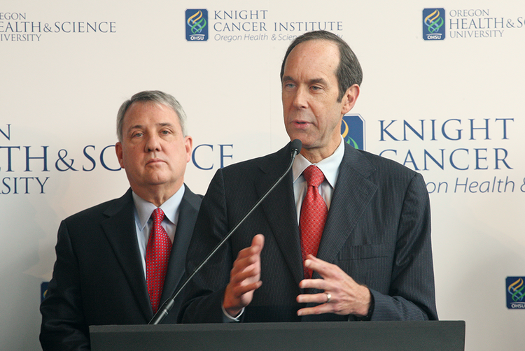 OHSU President Joe Robertson and Dr. Brian Druker discuss the impact of a $1 billion cancer challenge from Phil and Penny Knight.