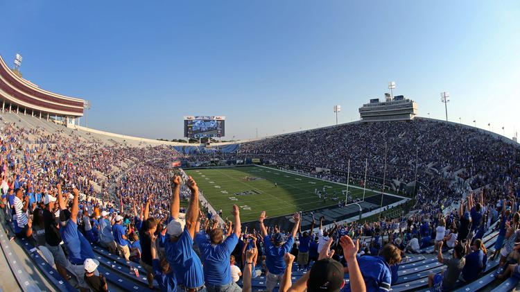 The crowd during last season's game between the University of Memphis Tigers and the Duke University Blue Devils.