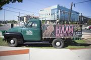 Whole Foods rolled out its vintage pickup truck to promote the HAAM Benefit Day in front of its store at 6th and Lamar.