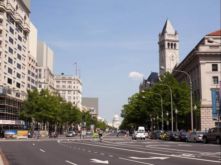 Pennsylvania Avenue NW, with 200 foot tall buildings along the left, per the recommendation of the D.C. Office of Planning.