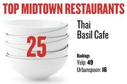 No. 25. Thai Basil Cafe, with rankings as follows: Yelp: 49; Urbanspoon: 16.