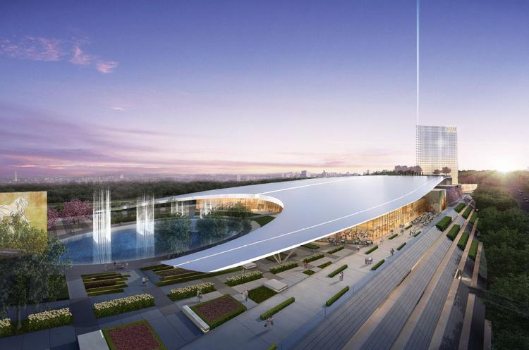 A rendering of the proposed MGM National Harbor casino-resort, from the terrace. The design was unveiled Wednesday.