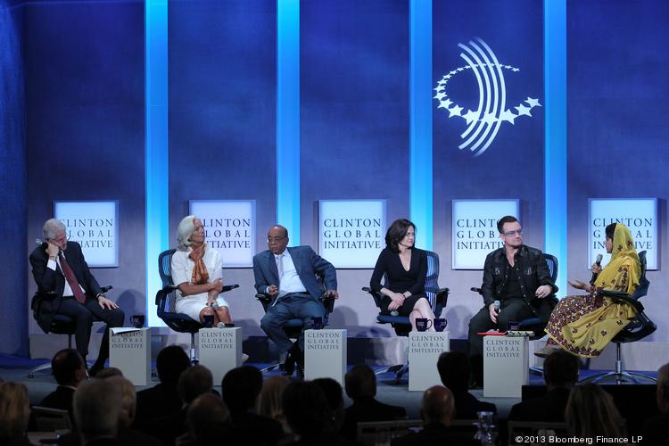 The Clinton Global Initiative is taking place this week in New York. Pictured here at a session on Tuesday are, from left: Former President Bill Clinton; Christine Lagarde, managing director of International Monetary Fund; Mo Ibrahim, founder of Celtel International BV; Sheryl Sandberg, chief operating officer of Facebook Inc.; Bono, singer for the band U2 and co-founder of ONE and (RED); and Khalida Brohi, founder and executive director of Sughar Empowement Society.