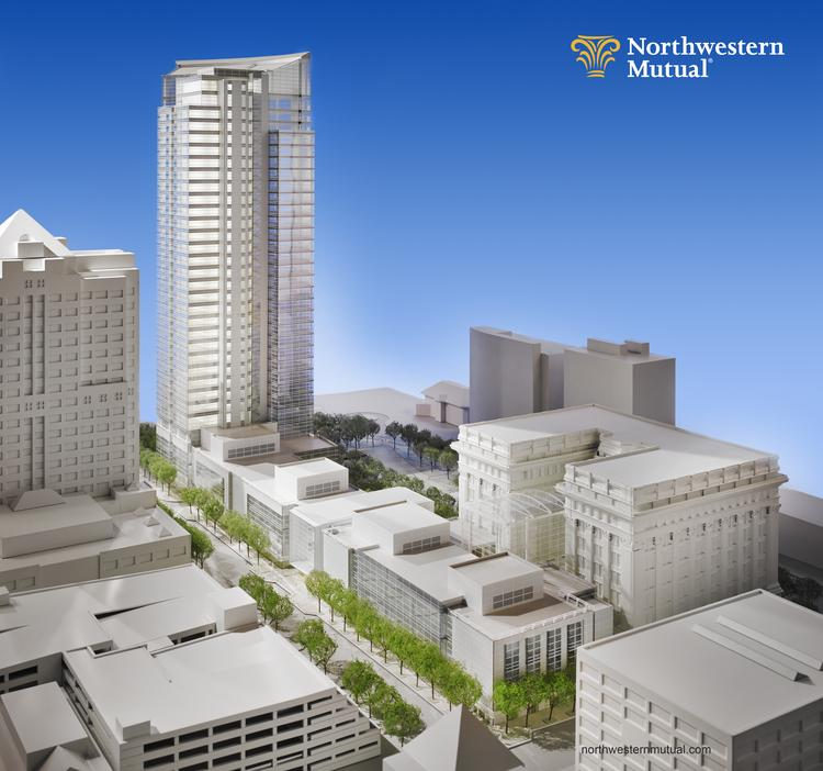 A rendering of the building viewed along Mason Street looking toward the southeast.