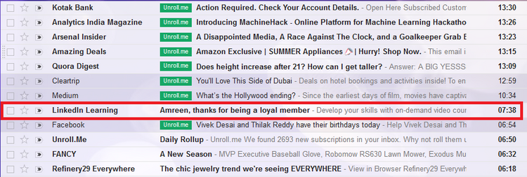 Personalization in an email subject line