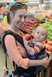 Shanan Seeler and her son, River, came from St. Paul to to downtown Minneapolis to check out the new Whole Foods store.
