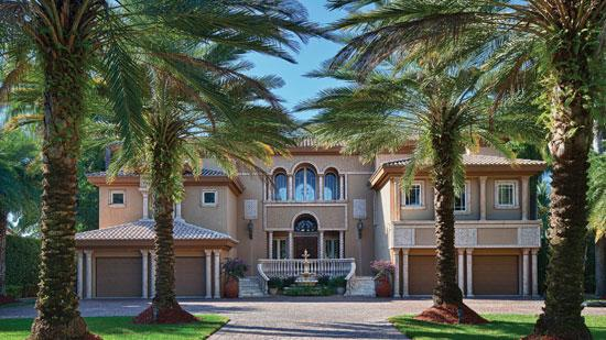 The 8,000-square-foot estate at 130 Palm Ave. sits on a 30,000-square-foot lot.
