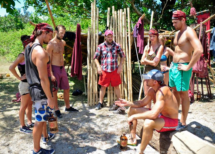 """Brad Culpepper, bottom right, addresses the Tadhana Tribe during the second episode of """"Survivor: Blood vs. Water,"""" to air Sept. 25."""