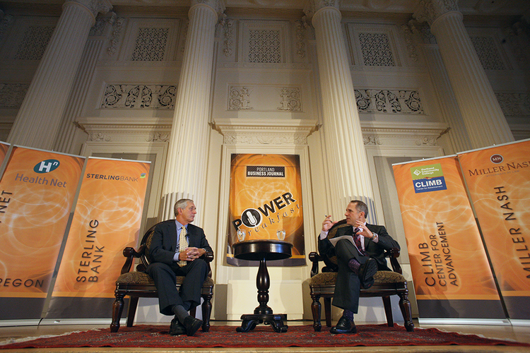 Portland Mayor Charlie Hales (left) and Portland Business Journal Publisher Craig Wessel bantered during Wednesday's Power Breakfast in the city's downtown. Click through for a look at some of the event's attendees as well as a bevy of Hales' musings from the interview.