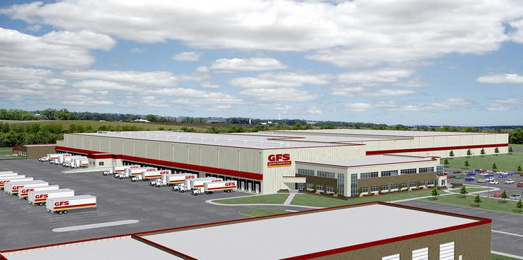 An artist's rendering shows the planned look for Gordon Food Service's  Findlay Township distribution center.