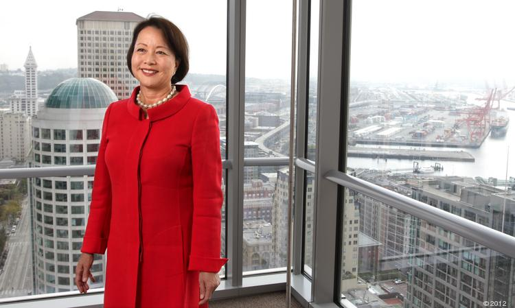 Phyllis Campbell, vice chairman of the Pacific Northwest Region of JPMorgan Chase, gives her company a B- grade for the first two years of acquisition of Washington Mutual.