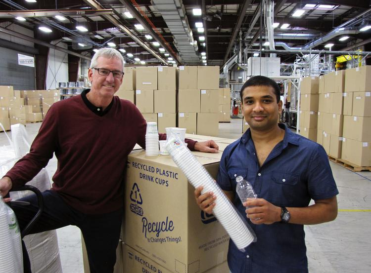 At MicroGreen's Arlington factory, from left, are Thomas Malone, president and CEO, and Krishna Nadella, co-founder and chief technology officer.