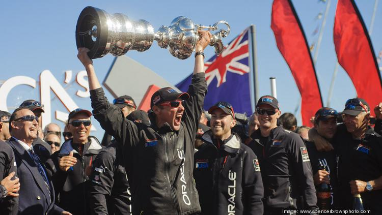 Oracle Corp. CEO Larry Ellison, who spent an estimated $200 million defending Oracle's first Cup, lifts it for the second time in 2012. Australia's Hamilton Island Yacht Club has pulled out of the 2017 America's Cup, citing the costs.