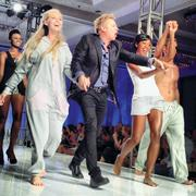 """Tampa Bay Fashion Week images via Instagram/alexismuellner. Guard your couches: Radio and reality TV star, and proverbial house guest Kato Kaelin accompanies models who wore clothes in the new Rhonda Shear line of loungewear """"Kato's Potato Pajamo's."""""""