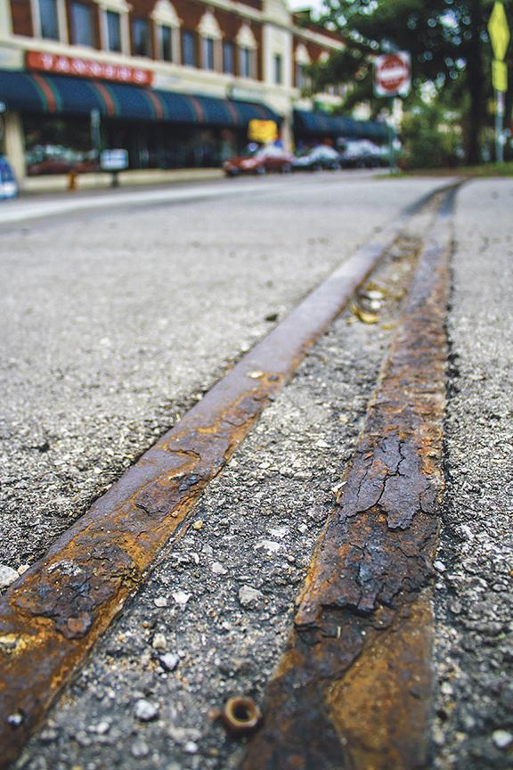 Original tracks from the old Country Club trolley line are still visible in Kansas CIty's Waldo neighborhood.