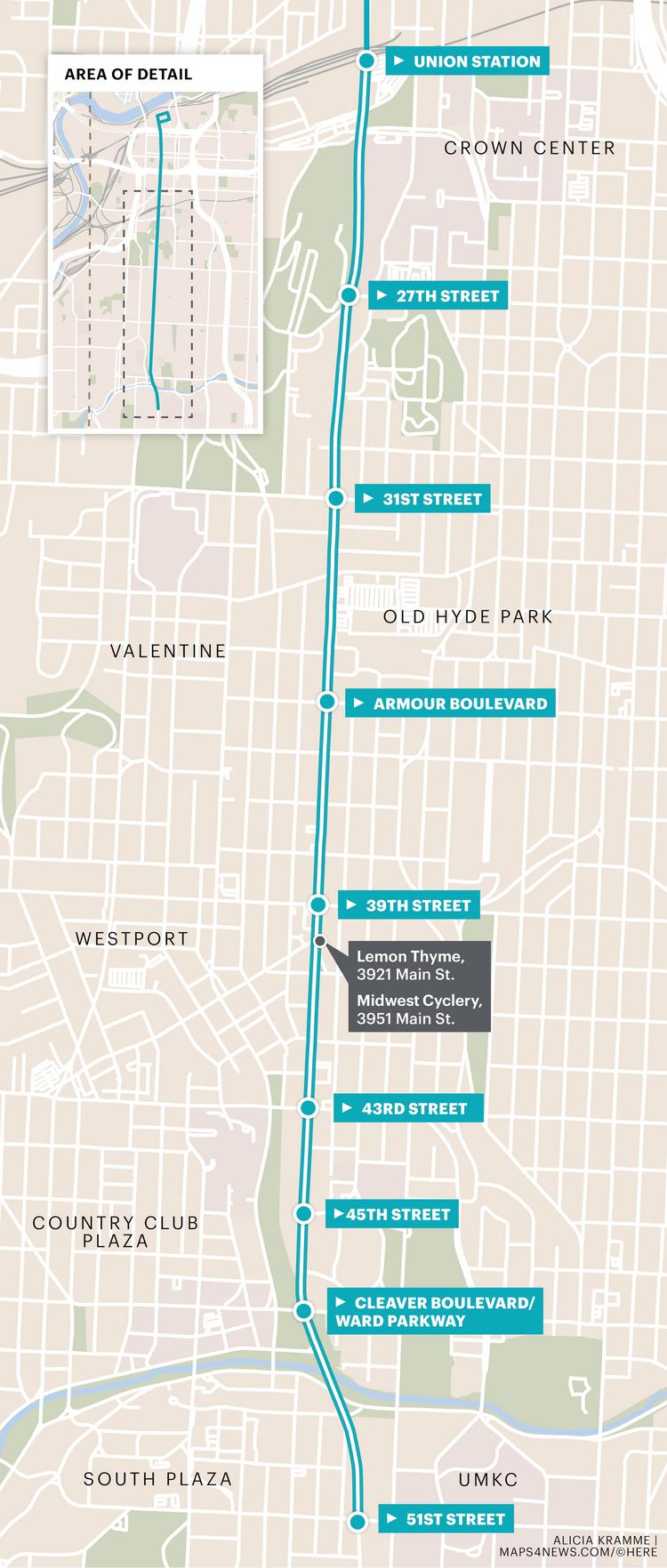kansas city streetcar extension funding timeline map of stops