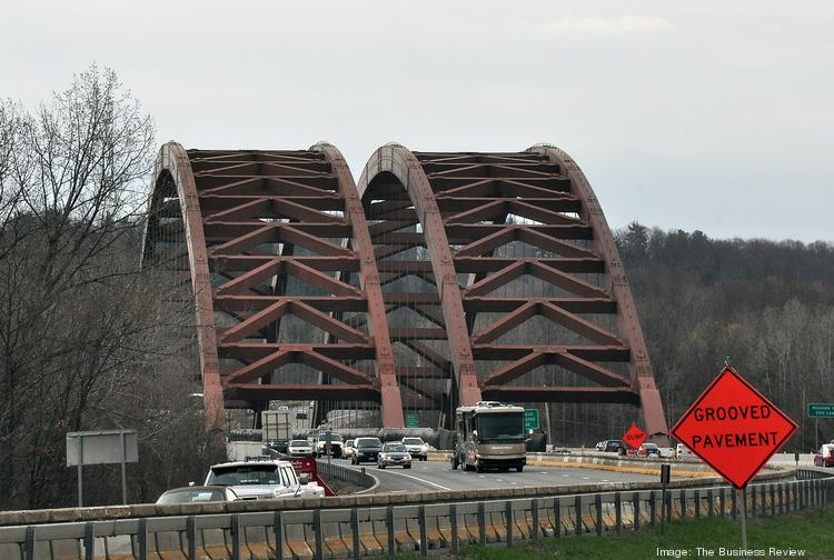Commuters from Saratoga County, NY cross into Albany County on the Northway's twin bridges.
