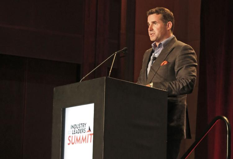 Under Armour CEO Kevin Plank delivers the keynote address at a Sports and Fitness Industry Association conference on Wednesday.
