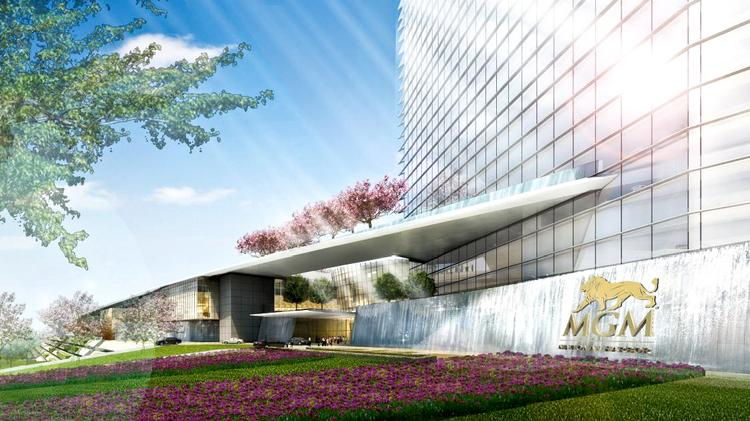 The base of MGM National Harbor's 18-story hotel tower is seen in this rendering. The proposed design is the work of HKS Architects.