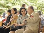 Inouye and his wife, Irene Hirono Inouye, are seen at the East-West Center prior to a speech by Secretary of State Hillary Clinton during APEC in November 2011.