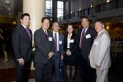 Asian/Pacific Bar Association board member Steve Tsuyuki, Sacramento County Superior Court Judge Russell Hom, ABAS Past President Richard Uno, UC Davis School of Law student Laura Taing, CA Department of Real Estate Chief Counsel Tad Egawa, Department of Insurance Staff Counsel Gene Woo pose at the annual Asian/Pacific Bar Association of Sacramento awards dinner.