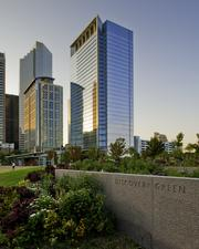 Recently built downtown Hess Tower at 1501 McKinney St. was developed by Trammell Crow Co., designed by Gensler and built by Gilbane Building Co. The 29-story, 844,763-square-foot, Class A office tower with a 10-level parking garage overlooking the 12-acre Discovery Green park is home to Hess Corp., which is the sole tenant in the building.