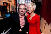 """Paint and sip"" studio ArtJamz re-opened its expanded Dupont Circle space March 14 with a VIP preview party. Santalla Studios owner Ernesto Santalla with ArtJamz Creative Director Anchyi Wei."