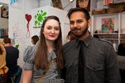"""Paint and sip"" studio ArtJamz re-opened its expanded Dupont Circle space March 14 with a VIP preview party. Artist Caitlin Fitzpatrick with ArtJamz Creative Enabler Kunj Patel."