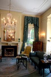 The south drawing room, traditionally called the Gentlemen's Parlor, reflects the style of Chinese Chippendale.