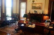 The library, one of Gov. McCrory's favorite rooms, contains mahogany bookcases that house an expansive collection of North Carolina literature.