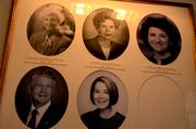 A photo collage of the first spouses of past governors is displayed in a first-floor corridor.