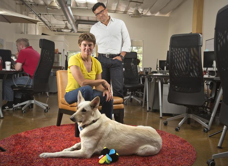 The co-founders of Silicon Valley startup Declara, Ramona Pierson and Nelson Gonzalez, in their dog-friendly Palo Alto office.   Click above to see the tools included in their social learning platform.