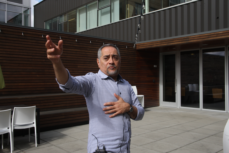 Sohrab Vossoughi of Ziba Design explains the potential impact of having a homeless camp just beyond the company's Pearl District headquarters.
