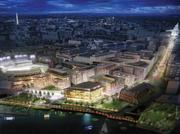 An overall view of the planned expansion of The Yards, with Nationals Park to the far left.