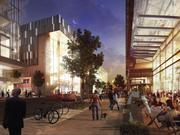 A ground-up view of an expanded The Yards, with the planned Showplace Icon theater ahead.