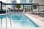 An upperdeck pool parallels the Music City Center.