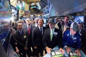 Violin Memory CEO Donald Basile, center with the blue cap, was on the floor of the New York Stock Exchange on Friday when his company's stock started ttrading for the first time.