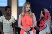 Yaweta Chavula, of Nairobi, from left, and Chelsea Clinton, daughter of former U.S. President Bill Clinton , listens while Laiba Shahzadi, of Pakistan, speaks during the annual meeting of the Clinton Global Initiative (CGI) in New York.
