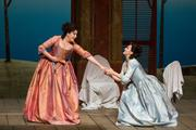 """Susanna Phillips and Isabel Leonard sing as Fiordiligi and Dorabella in Mozart's """"Cosi fan tutte"""" at the Metropolitan Opera in New York. Met Music Director James Levine conducts the revival."""