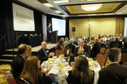Sacramento Business Journal Publisher Terry Hillman speaks at the annual Best Real Estate Projects awards breakfast.