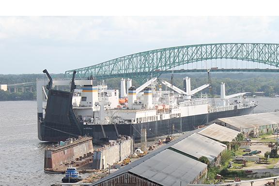 The Military Sealift Command USNS 1st Lt. Harry Martin docked at the North Florida Shipyards. The ship was under tow when its vehicle ramp struck the Mathews Bridge.