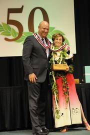 Pacific Business News Publisher Bob Charlet recognizes Mary Philpotts McGrath as one of Hawaii's most influential business executives at PBN's 50th anniversary gala at the Hilton Hawaiian Village Waikiki Beach Resort.