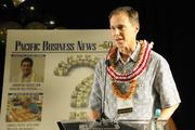 Chris Benjamin, president and chief operating officer of Alexander & Baldwin Inc., accepts an award recognizing A&B as the most influential Hawaii company over the past 50 years during the Pacific Business News 50th anniversary gala at the Hilton Hawaiian Village Waikiki Resort.